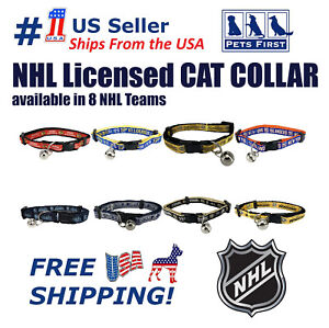 NHL Cat Collar - Licensed, Adjustable, Heavy-duty with Jingle Bell. 8 NHL Teams