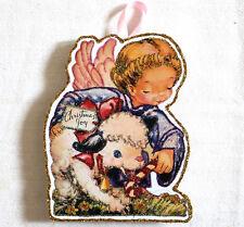 Glittered Wooden CHRISTMAS Ornament~Angel & Lamb~ Handmade~ Vintage Card Image