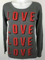 Express Women's Sweater with Cool Graphics Pullover Long Sleeve Gray Size XS