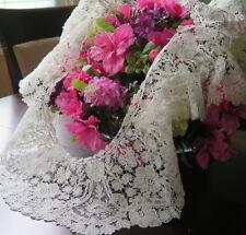 Vtg Antique Brussels Point de Gaze Duchesse Lace Handmade Ruffled Collar Flounce