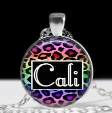 """Customized Animal Print Name Pendant Charm or Key Chain 1"""" Personalized Jewelry"""