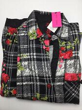 Betsey Johnson Black Plaid Flannel Set Roses Pajama Set Size XS NWT