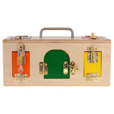 Wooden Montessori Colorful Lock Box with 10 Different Doors&Latches, Kid Toy
