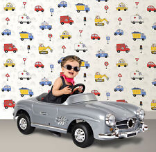 CARS LORRY TRUCK DIGGER KIDS CHILDRENS BOYS BEDROOM WALLPAPER DEBONA 20007