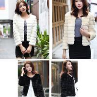 Womens Winter Faux mink Fur short slim warm parka wedding Outerwear Coat Jacket