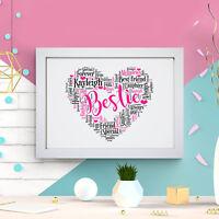 Personalised Word Art Bestie Friendship Heart Print Best Friend Frame Gift