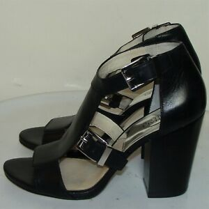 MICHAEL KORS WOMENS BLACK LEATHER SANDALS HEELS SIZE 10M       DB2