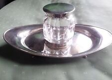 Antique Silver Oval Inkstand & Fitted Silver Topped Glass Inkwell - London 1913