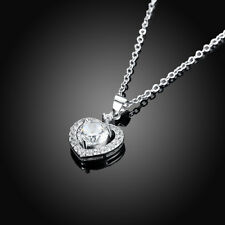 925 Sterling Silver Heart Necklace CZ Pendant & Chain Women White Black Pave