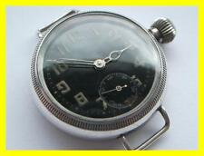 LARGE BLACK DIAL DENNISON SILVER TRENCH WATCH,35MM,WORKING,SCREW CASE,1917