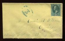 3c Green on Cover - Green 1877 Poplar Grove ILLINOIS Fancy Oval Cancel PH4117