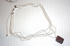 Ladies Triple chain necklace silver plated with tag