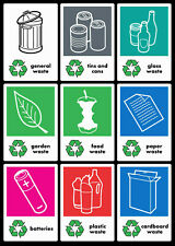 Recycling stickers for your school, office, home bins, WRAP - 200 x 140mm each