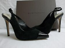 Elie Tahari EU 35.5 US 5.5 Alise Black Leather Slingbacks Heels New Womens Shoes