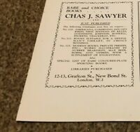 """(ANT4) ANTIQUES ADVERT 5X4"""" CHAS J SAWYER : RARE AND CHOICE BOOKS"""