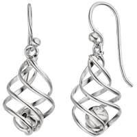 Ohrhänger Ohrringe, beweglicher Kugel in Spirale, 925 Silber rhodiniert, Damen