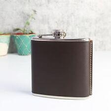 Kikkerland 6 Oz Leather Covered Steel Travel Hip Flask BA61-S
