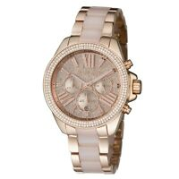 New Michael Kors Wren Rose Gold Blush Chrono Womens Glitz Stainless Watch MK6096