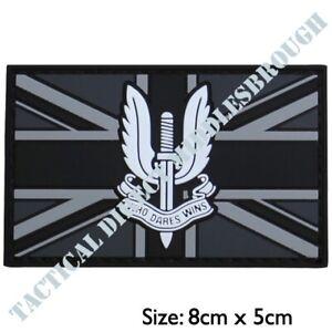 SAS WHO DARES WINS PATCH 3D HOOK & LOOP BADGE BRITISH ARMY REGIMENT UNION JACK