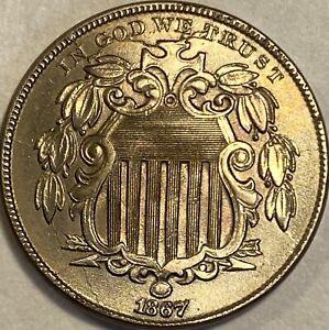 1867 Shield Nickel  No Rays