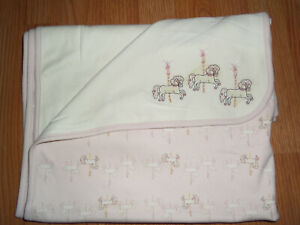 VTG Gymboree Days of Yesteryear Carousel Horse Reversible Blanket Appliqué Pink