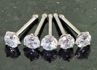 5 Pc 316L Surgical Steel 18g Prong Set 3mm CZ Gem Nose Studs Bones Rings