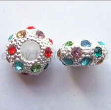20pcs Big Hole Crystal Rhinestone Pave Rondelle Spacer Beads Fit European Charms
