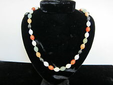 Vintage Chinese  Muti Colored Oblong Jade Bead Necklace