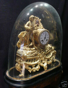 French Gilt Figural Clock with Glass Dome