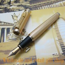 JINHAO Noblest Gold Carver Dragon M NIB Ink Pen Metal Gift Fountain Pen