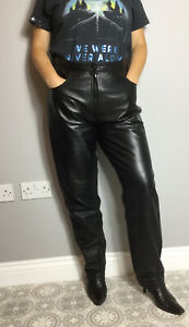 VTG Per Me Made In Italy Black Leather Straight Leg Jeans Trousers W34 L30 Biker