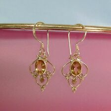 "1/2"" Oval Citrine Gemstone 925 Sterling Silver Handmade Filigree Dangle Earrings"
