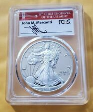 2018 S PCGS PROOF PR70 DCAM FIRST STRIKE SILVER EAGLE MERCANTI RED BRIDGE LABEL