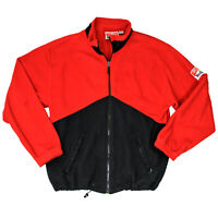 Mens Vntg 90s Marlboro Cigarettes Unlimited Full Zip Fleece Jacket Red Black Lrg
