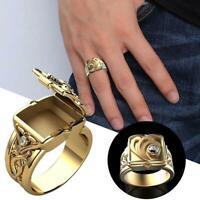 Luxury Men's Gold Rings Secret Small Room Coffin Ring Size 6-14 d d