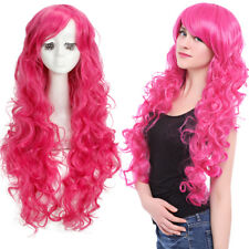 My Little Pony Pinkie Pie Rose Red Pink Magenta Long Hair Curly Wavy Cosplay Wig