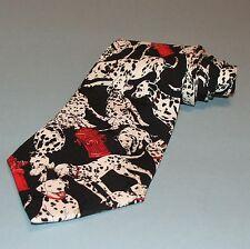 Nicole Miller Novelty Tie Necktie 1996 Dalmatian Dog Red Fire Hydrants 100% Silk