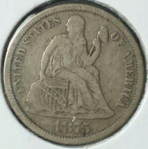 1875 CC 10c Seated Liberty Silver Dime