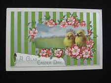 Antique Easter Day Embossed Yellow Peeps Chicks Flowers United Art Pub. Postcard