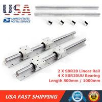 2X SBR20 ( 800 / 1000 MM Length ) LINEAR RAIL SHAFT & 4Pcs SBR20UU Bearing Parts