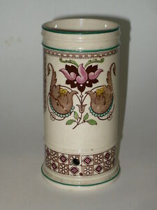 VICTORIAN POTTERY BROWNFIELD TOOTHBRUSH HOLDER * RARE PATTERN *DATED MAY 1881