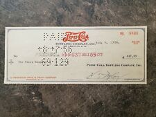 Pepsi Co. cancelled Cheque, 1956