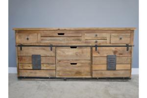 Large Industrial Mango Wood & Iron Storage Sideboard - Drawer & Cupboard Storage