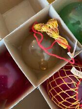 "vintage japanese glass fishing floats W/ Netting Christmas Ornament 2""  Blue"