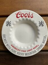 Vintage Coors America's Fine Light Beer Ceramic Ashtray 1970's Free Shipping!