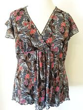 Yessica Size XL 20 22 Double Layer Mesh Floral Print Crossover Summer TOP Casual