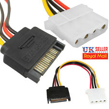 NEW SATA 4 PIN MOLEX FEMALE TO 15 PIN MALE POWER ADAPTER CABLE HARD DISK DRIVE