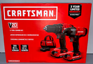 CRAFTSMAN CMCK200C2 V20 2 Tool 20 Volt Max Power Tool Combo Kit Drill Set