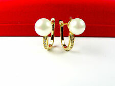 14ct real gold GF earrings with simulated Pearls and diamonds,weight 5.1g