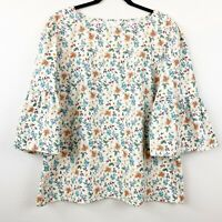 Time and Tru Women's Floral Peasant Top Blouse Pullover Bell Sleeves Sz XL 14-16